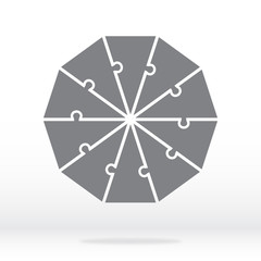 Simple icon decagon puzzle in gray. Simple icon decagon puzzle of the ten elements on transparent background. Flat design. Vector illustration EPS10.
