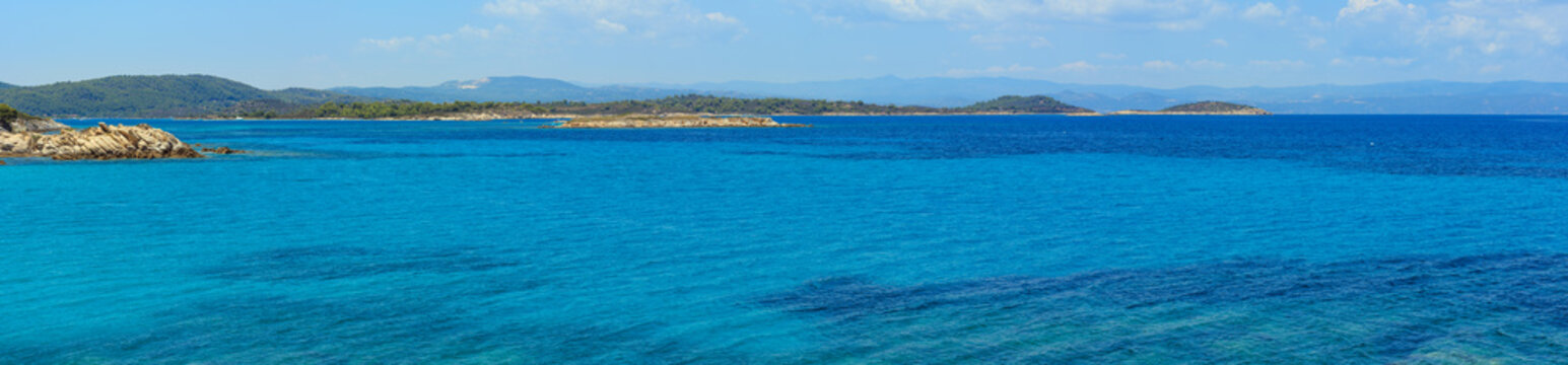 Aegean sea coast panorama (Chalkidiki, Greece).