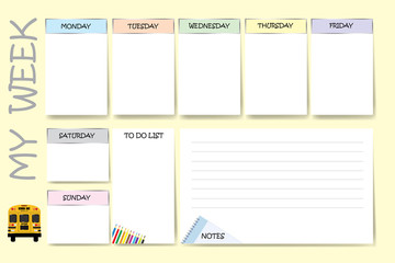 Weekly planner for school with school bus, notes and crayons contains a chart for notes and white charts for each day of the week designed by different color are ready for your text.