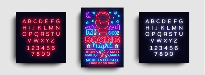 Boxing poster neon vector. Boxing night design template, bright neon brochure, modern trend design, light banner, typography invitation to the boxing match, postcard. Vector. Editing text neon sign