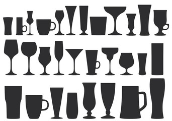 Collection of glasses for drinks. Dishes. Vector illustration.