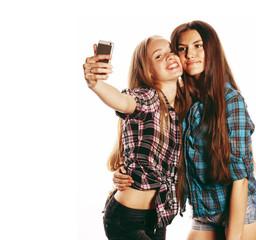 cute teenage girls making selfie isolated