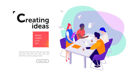 teamwork, a group of young entrepreneurs  or businessmen sit at a table and create new ideas  for a start-up, communicate among themselves in the areas of marketing,  design and advertising, vector fl