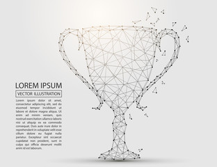 Abstract image of the Cup, consisting of 3D triangles, lines, points and connections. Vector illustration of EPS 10.