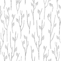 Seamless Botanical Pattern with Briar Branches in Asian Style.