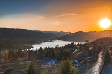 Poster Cappuccino Sunset in Colibita lake , Romania