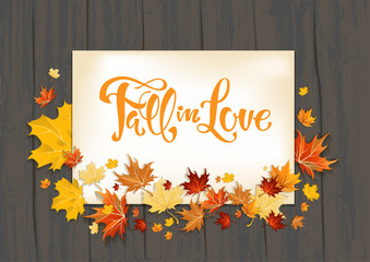 Wall Mural - Lettering and Fall leaves on dark