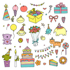 Happy birthday color doodle set. Hand drawn vector illustration. Birth day home holiday. On white background for your web design.