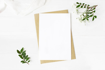 Feminine wedding stationery, desktop mock-up scene. Blank greeting card, craft envelope, baby's...