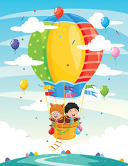 Vector Illustration Of Kids Riding Hot Air Balloon