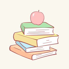 Pile stack books apple hand drawn style vector doodle design illustrations