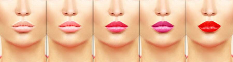 Color lips.Make up. Colored lipstick