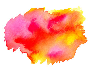 Abstract pink red yellow watercolor on white background.The color splashing on the paper.It is a hand drawn.