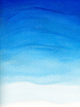 Watercolor illustration of blue sky gradient with cloud. Artistic natural painting abstract background.