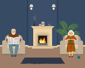Senior couple is sitting in the living room near the fireplace. Old lady knits socks, and elderly man is reading the newspaper. Vector illustration