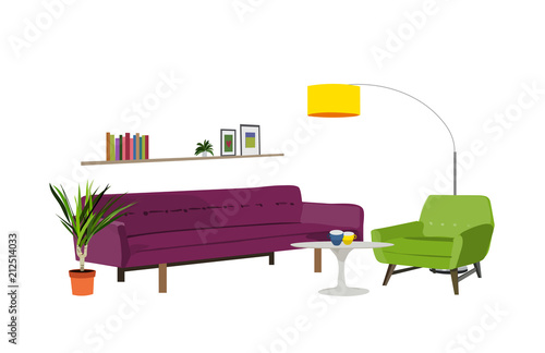Vector Interior Design Illustration Home House Decor Decoration Furniture Living Room Lounge Sofa Armchair Table Coffee Lamp Cushion Plant Vase Modern Contemporary Designer Trendy Style Trend Stock Image And Royalty Free Vector