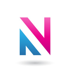 Magenta and Blue V Shaped Icon for Letter N Vector Illustration