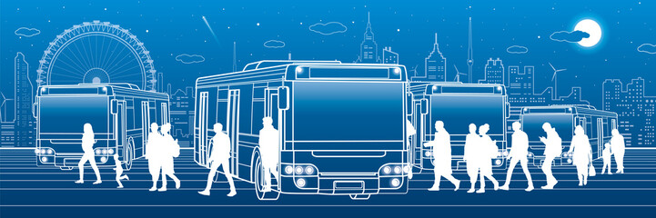 Transportation panoramic. Passengers enter and exit to the bus. Town transport infrastructure. Night city at background, vector design art