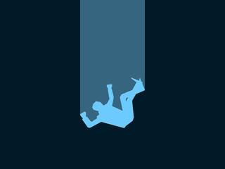 Falling man. Male blue silhouette on black background. Retro style, noir. Vector illustration Fototapete