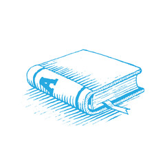 Ink Drawing of a Blue Book Vector Illustration