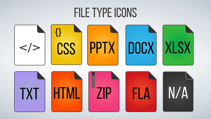 Set of File Formats icons. Vector illustration isolated on white background.