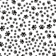 Paw print seamless. Isolated Logo. Vector Illustration.