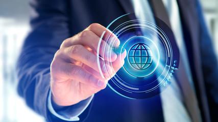 Businessman holding a Shinny technologic globe button - 3d render