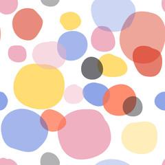 vector seamless geometric pattern swatch. trendy colors.doodles hand drawn. spotty spots polka dot