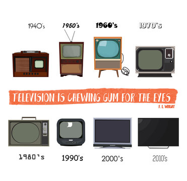 television history. tv retro vintage modern. 1980 1990 1970 1960 1950 1940. vector illustration. first tv. set elements.