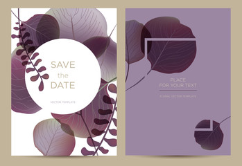 Invitation/card in the botanical style. Violet leaves on white and lilac background. Template card for the wedding, birthday and celebration.