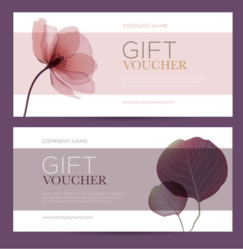 Gift card with floral decoration. Invitation card. Coupon template. Background for the invitation, shop, beauty salon, spa.