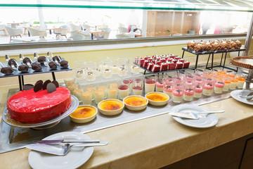 Hotel interior, buffet table, dessert, all inclusive
