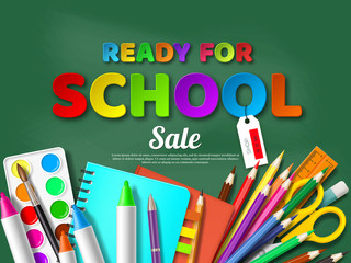 Ready for school sale poster with realistic school supplies. Paper cut style letters on blackboard background. Vector illustration.