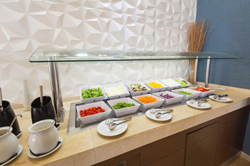 Hotel interior, buffet table, lunch, salad, all inclusive