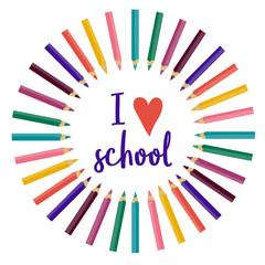 vector back to school illustration. love school. color pencils, heart.nursery children.