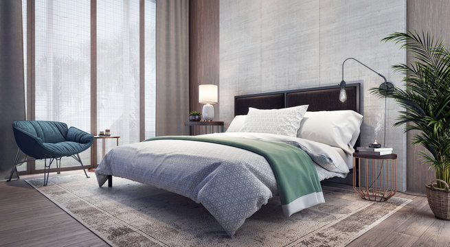 Modern design of bedroom interior 3D Rendering