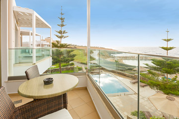 Hotel terrace with a sea view