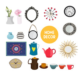 home decor vector elements set collection. house interior design.