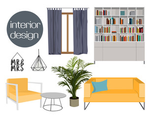 vector interior design elements collection set. living room home furniture. house. sofa, lamp, armchair, table, window.