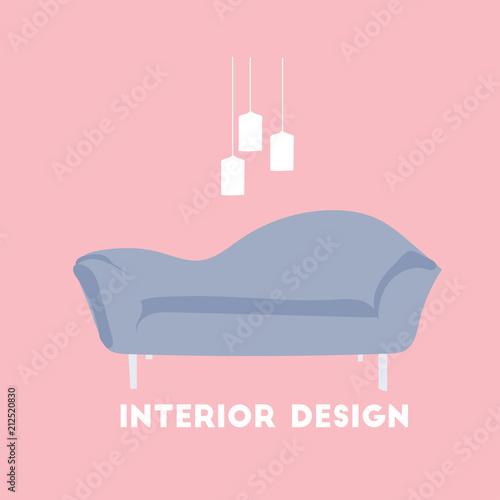 vector interior design illustration. furniture logo. living room ...