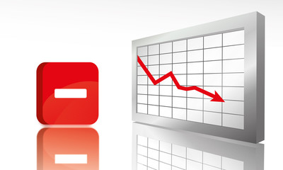 Grafik: Fallende Aktienkurse - 3D Illustration mit Graph und Minus