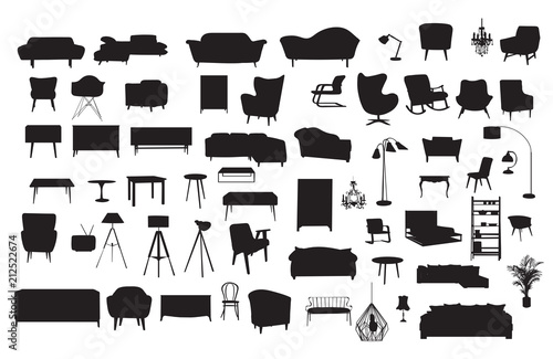 Vector Furniture Drawing Silhouette Home House Interior