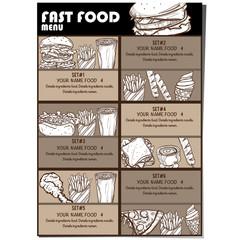 menu fastfood design template graphic drawing set