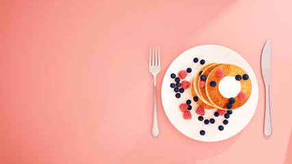 Pancake blueberry and berry on white dish in pink background - Bakery on pink backdrop for artwork - Breakfast of everybody like - 3D Rendering