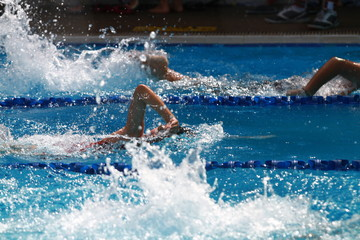 A group of swimmer swimming freestyle, front crawl or australian crawl stroke in a swimming pool for competition or race