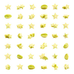 Big set of carambola fruits isolated