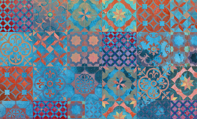Digital background art of mediterranean and Aegean tiles.