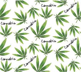 Marijuana leaves and Hookah seamless pattern.