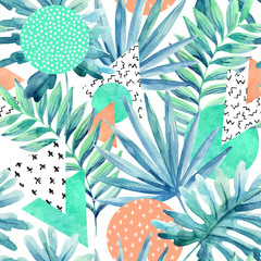 Foto op Canvas Grafische Prints Triangles, circles with watercolor tropical leaves, doodles, paper textures.