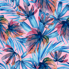 Watercolor blue colored tropical leaves seamless pattern.